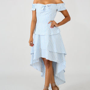 Womens Blue & White Stripe Ruffle Maxi Dress